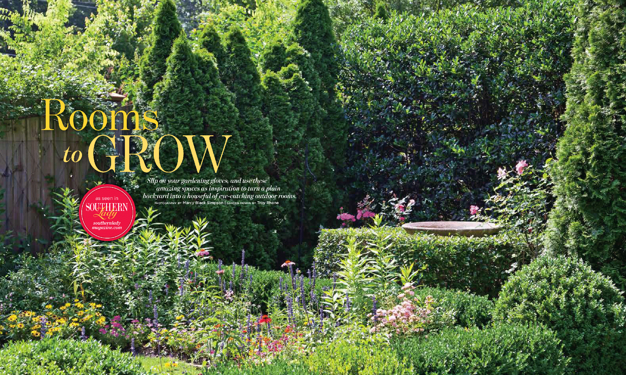 Rooms to grow southern lady garden design magazine for Garten design magazin